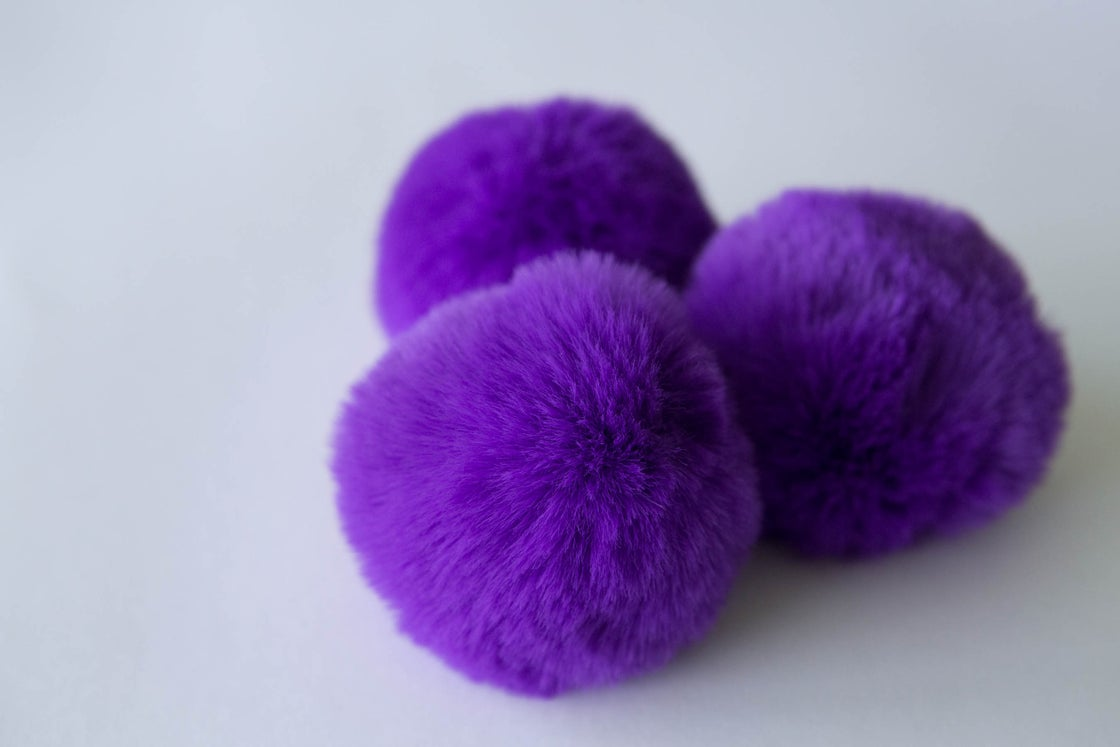 Image of Faux Fur Pompom - Purple