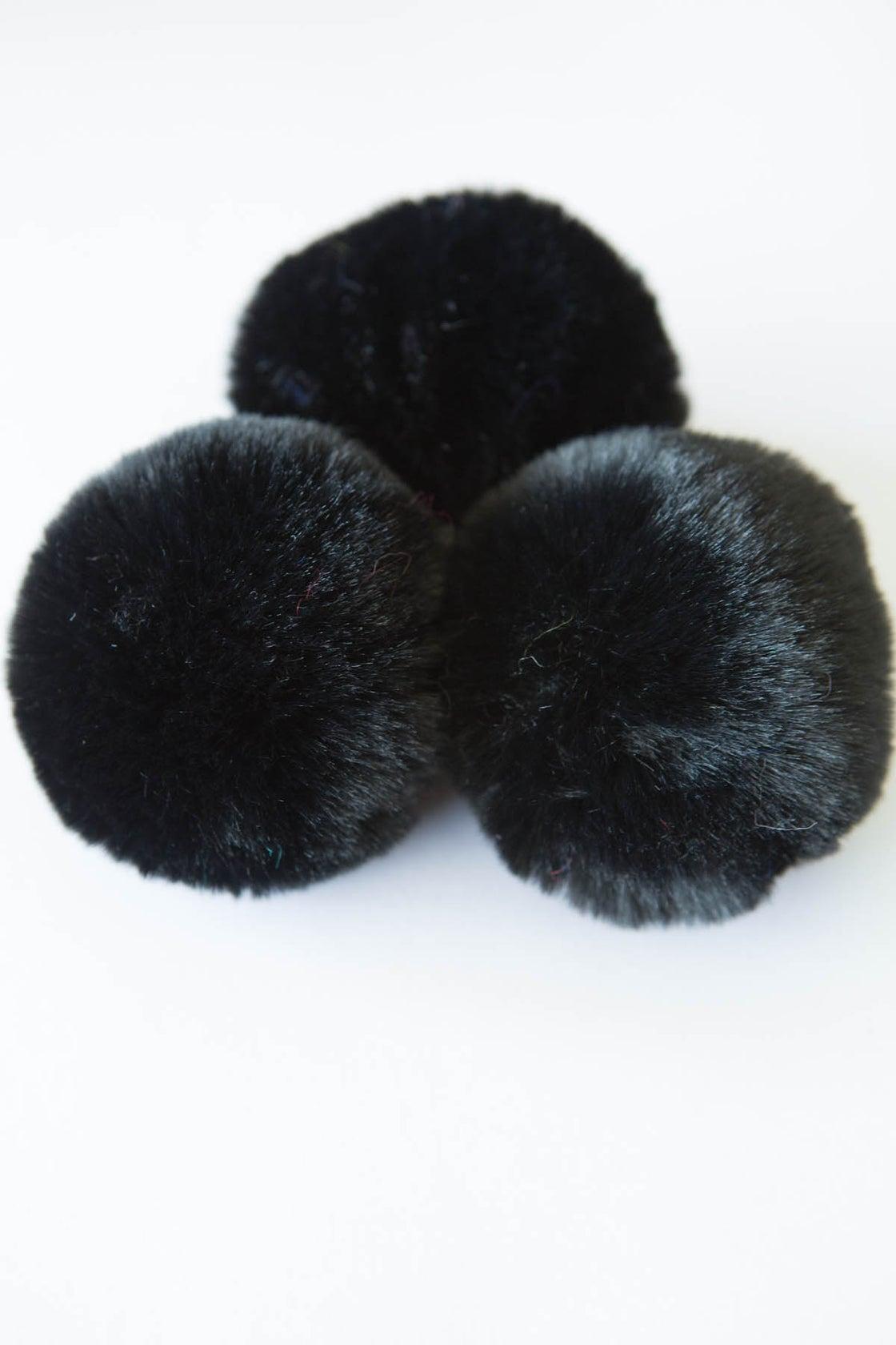 Image of Faux Fur Pompom - Black