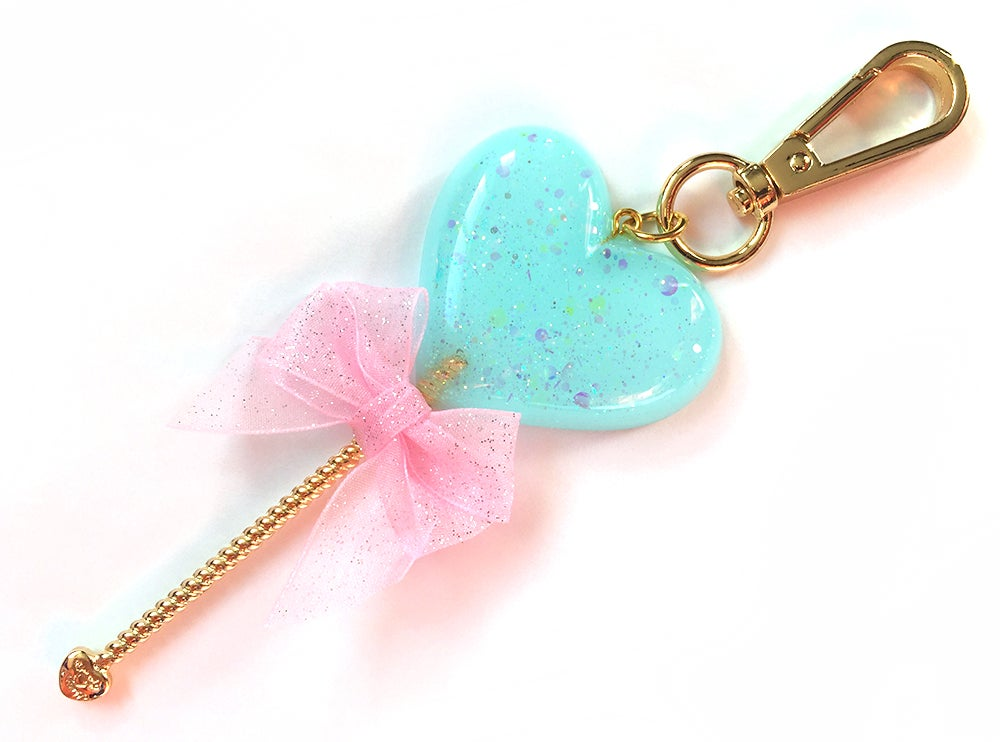 Image of Heart Lollipop Bag Charm Sparkle Aqua