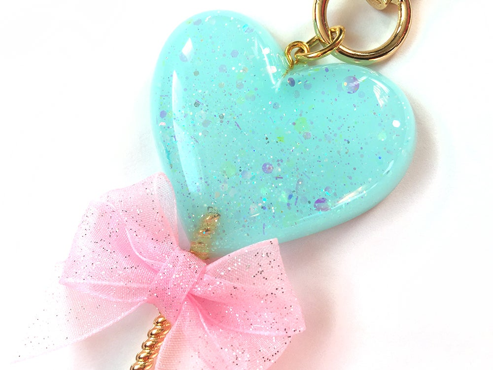 Image of Heart Lollipop Bag Charm Sparkle Aqua