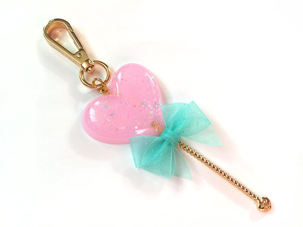 Image of Heart Lollipop Bag Charm Sparkle Pink
