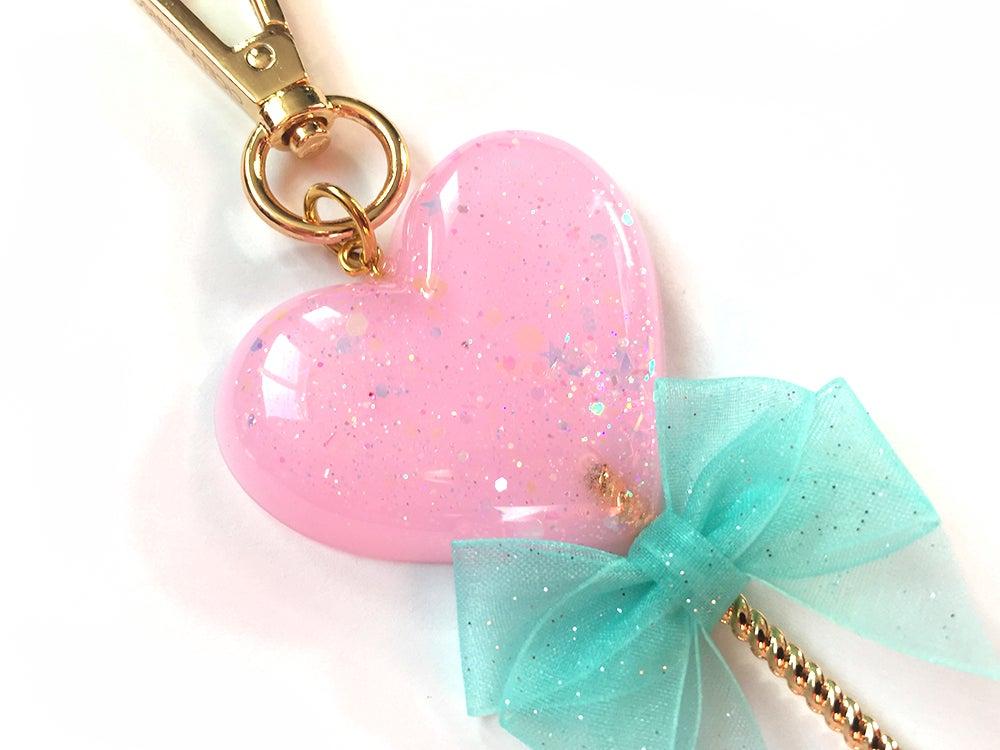 Image of Heart Lollipop Bag Charm Sparkle Pink