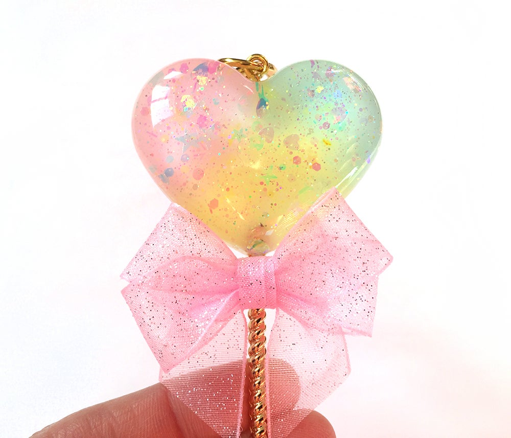 Image of Rainbow Sparkle Heart Lollipop Bag Charm