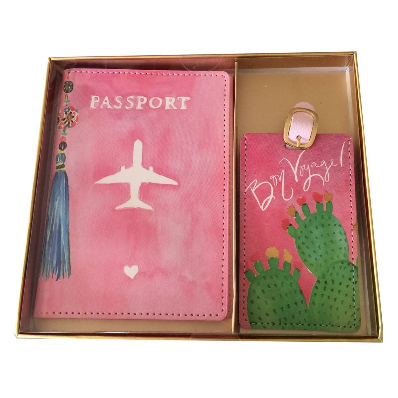 Image of Pink Passport & Luggage Tag Set