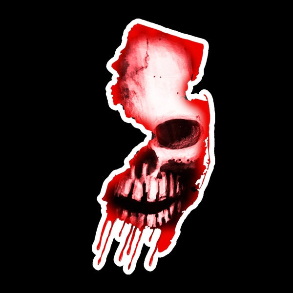 Image of Red NJ HORROR CON sticker