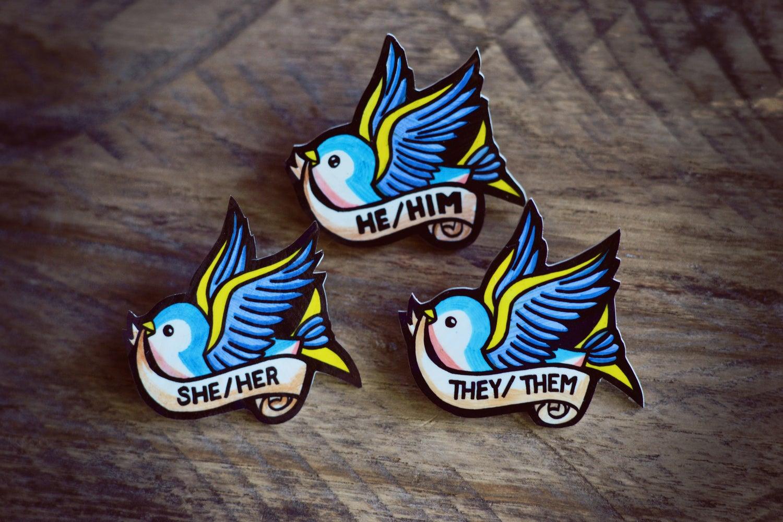 Image of Swallow Pronoun Pin