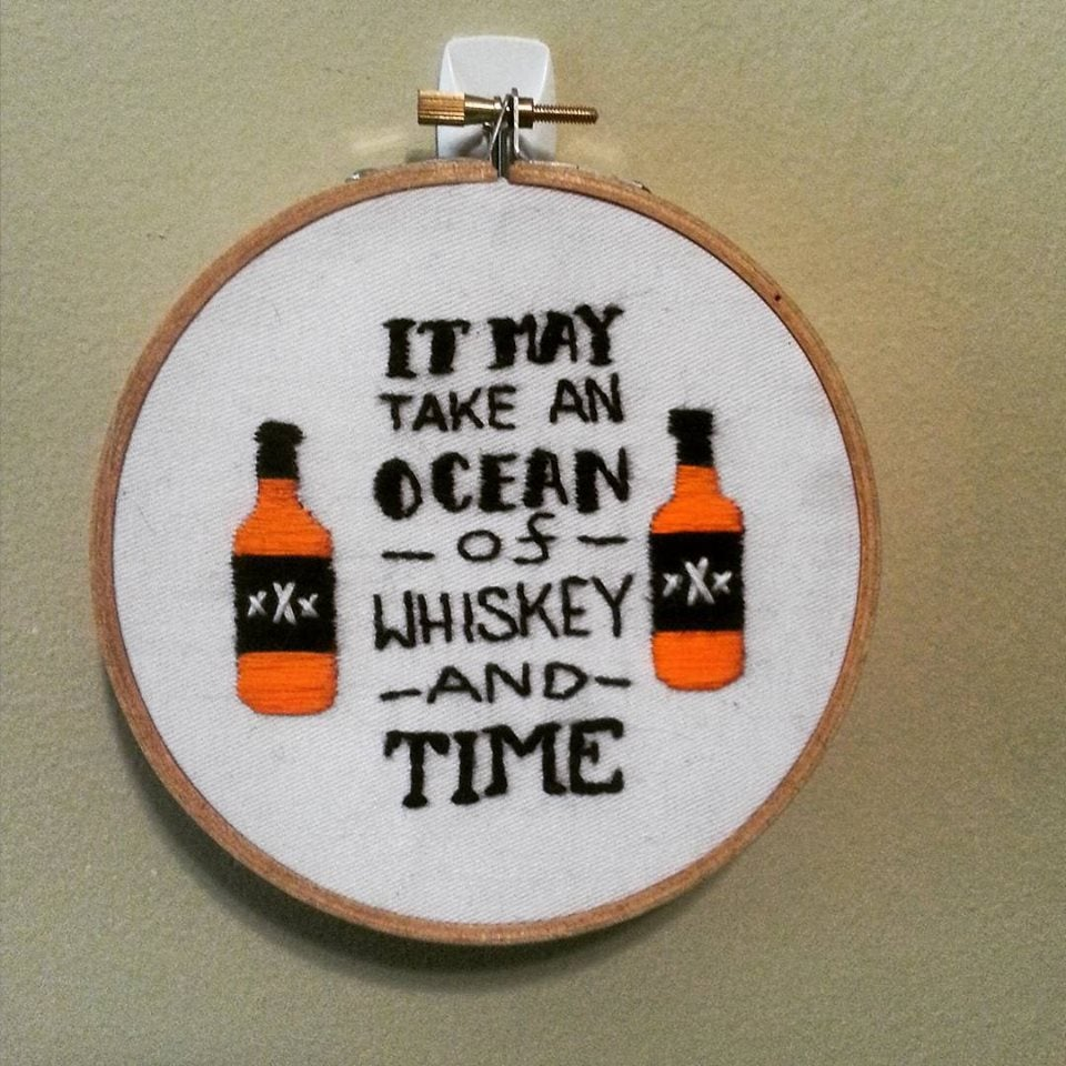 "Image of Whiskey and Time 5"" Embroidery"