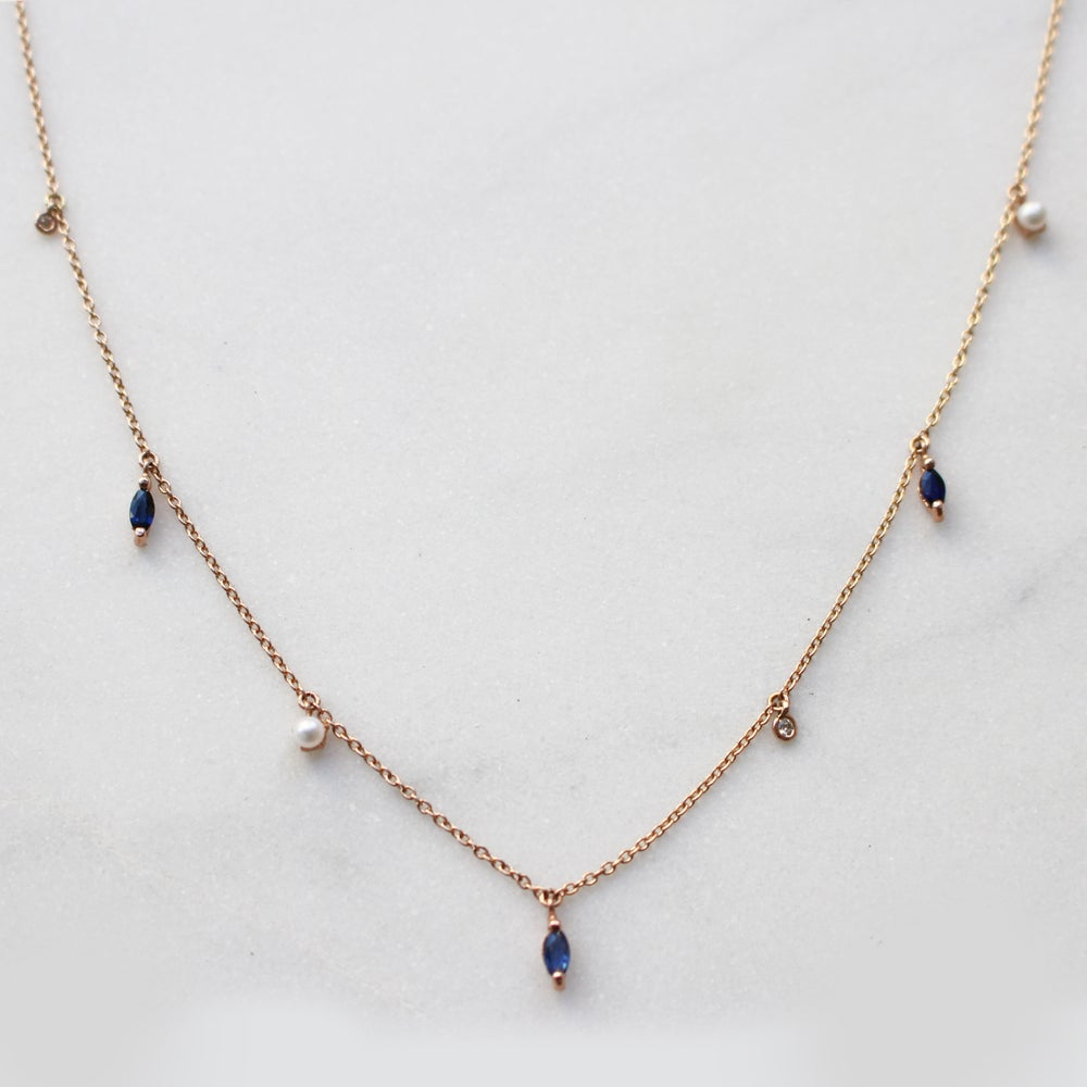 Image of Sapphire Marquise Drop Necklace
