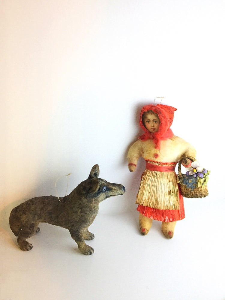 Image of Red Riding Hood and Wolf Ornament Set of 2