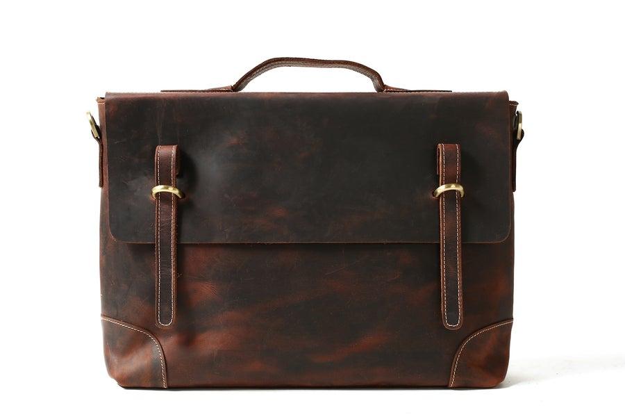 Image of Vintage Men Leather Briefcase, Messenger Bag, Laptop Bag 0341