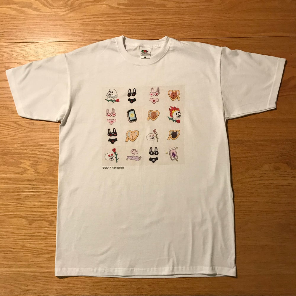 Image of Embroidered Motifs Collage Print on White T-Shirt