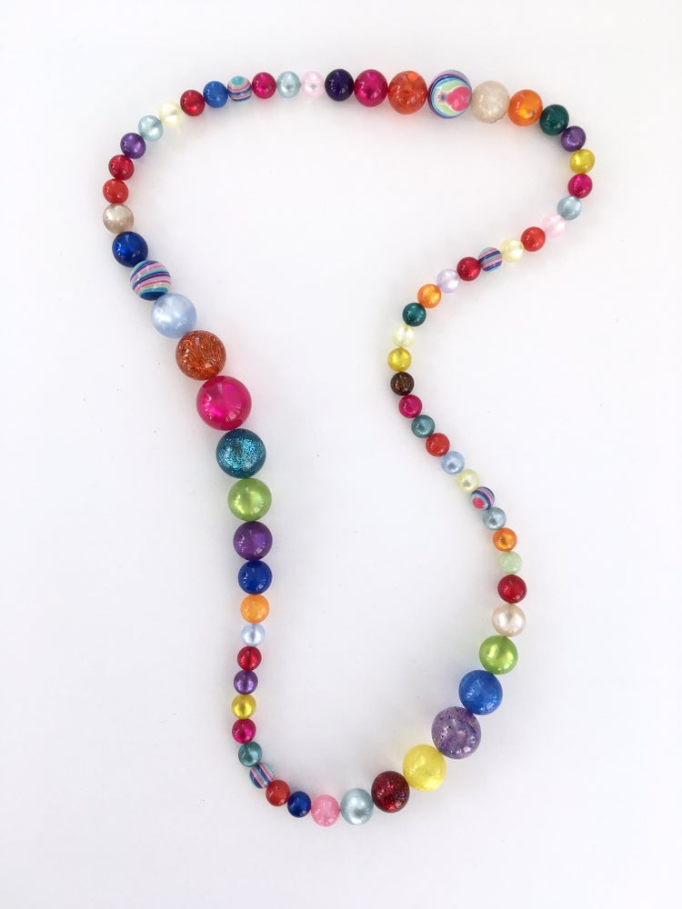 "Image of FLORIAN LADSTAETTER (AUSTRIA) LONG MULTICOLOR BEAD 32"" NECKLACE"