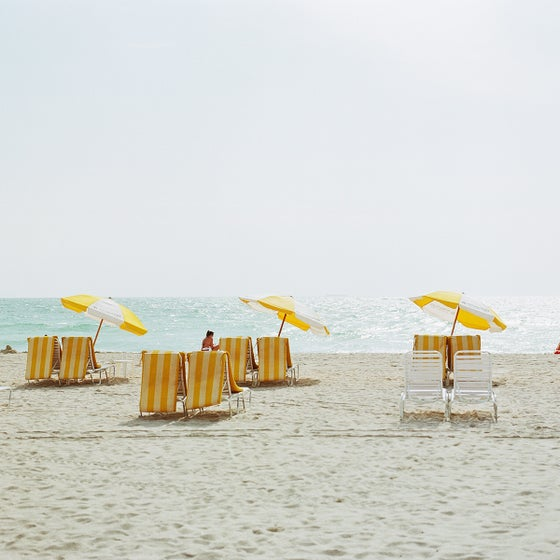 Image of Yellow beach chairs