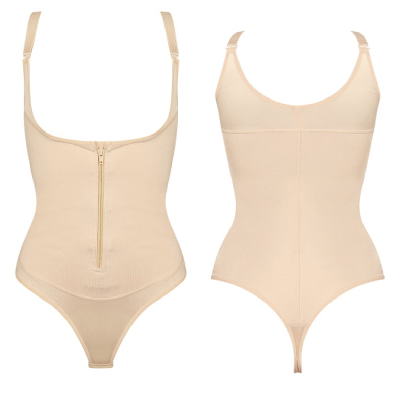 Image of Front clip and zip thong (tan)