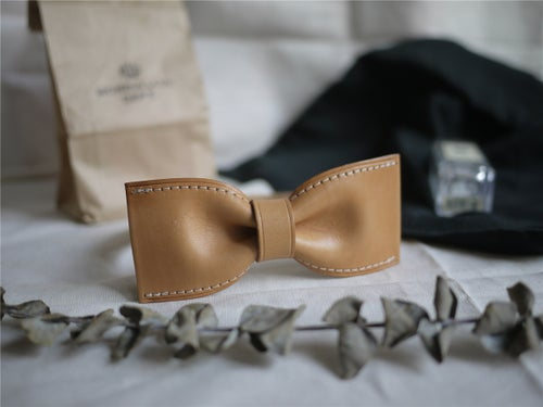 Image of Personalized Handmade Vegetable Tanned Leather Bow Tie, Groomsmen Bow Tie, Wedding Bow Tie BT01