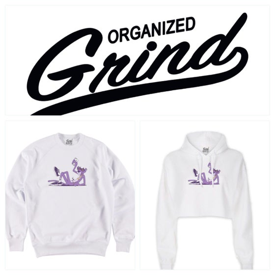 Image of New - Purple Panther Crewneck & Ladies Crop Top Hoodie