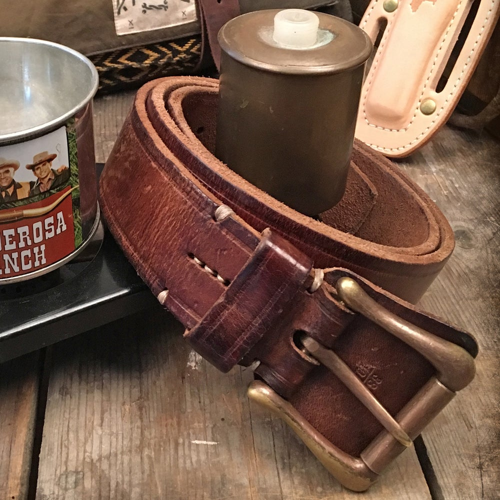Image of THEDI LEATHERS WESTERN BELT BROWN