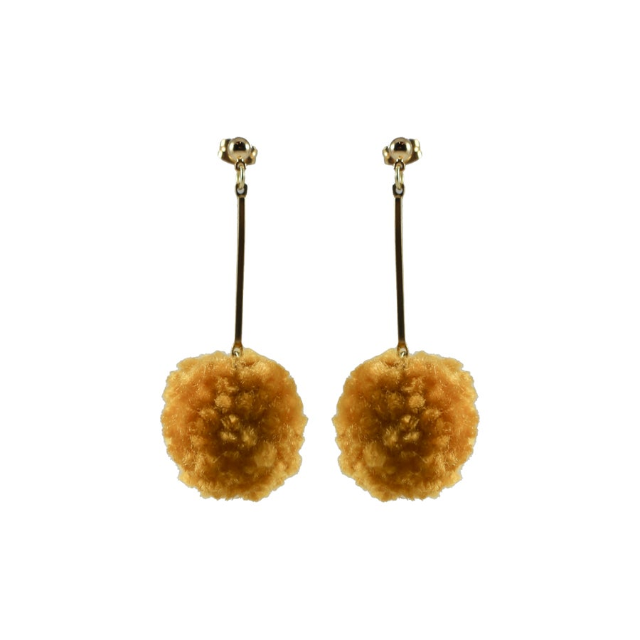 Image of Matchstick Pom Pom Earrings