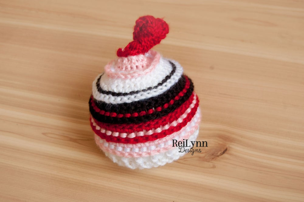 Image of Red, Pink, White and Black Knotty Beanie