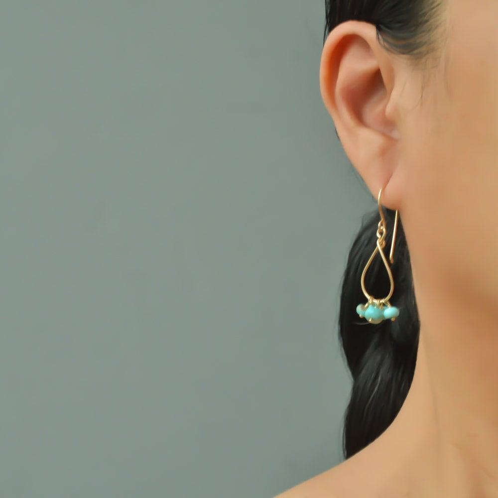 Image of Kingman turquoise earrings 14kt gold-filled