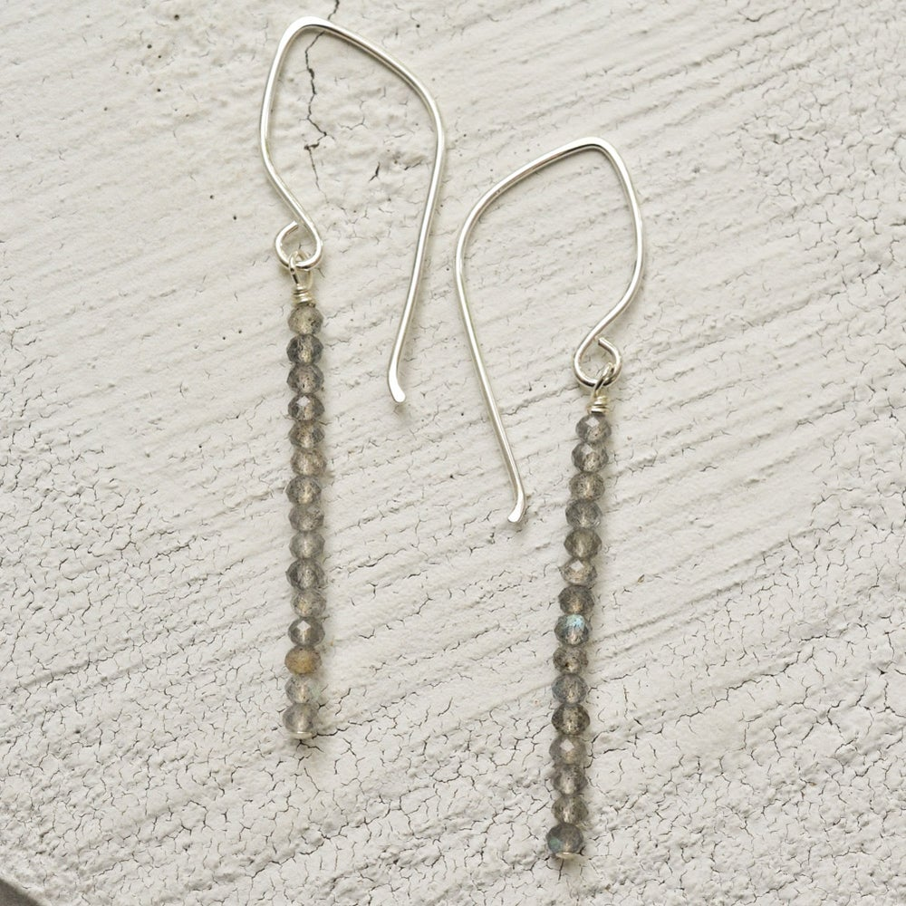Image of Labradorite line earrings sterling silver