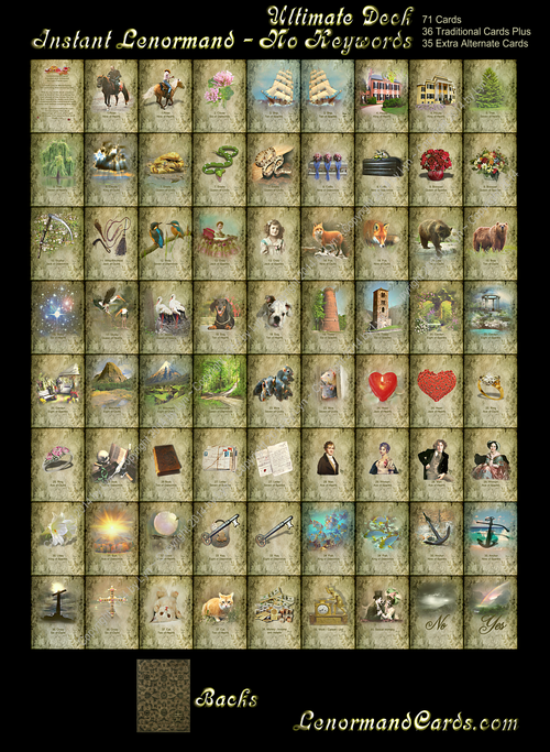 Image of Instant Lenormand Deck (NO KEYWORDS) - 36 Traditional Cards (also other sizes and options)