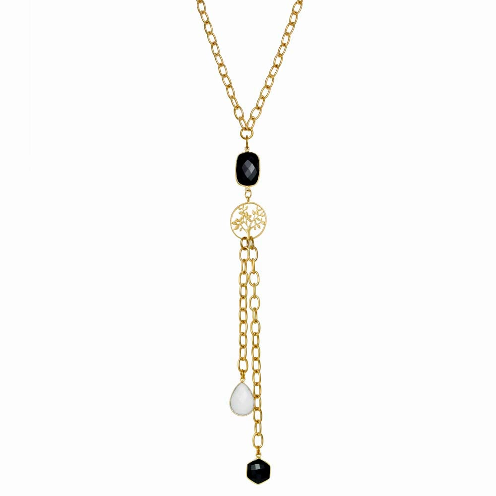 Image of TREE-OF-LIFE ONYX DROP NECKLACE