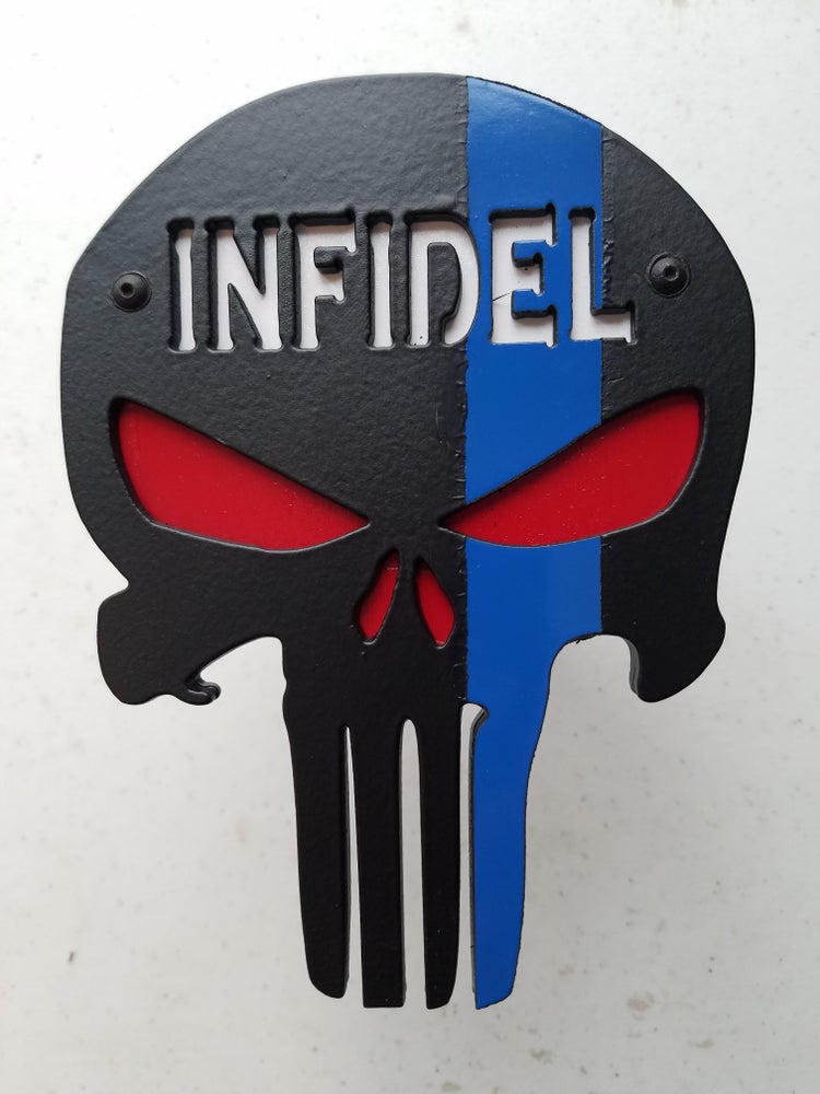 """Image of Punisher Skull with """"INFIDEL""""Hitch Cover - Two Layer"""