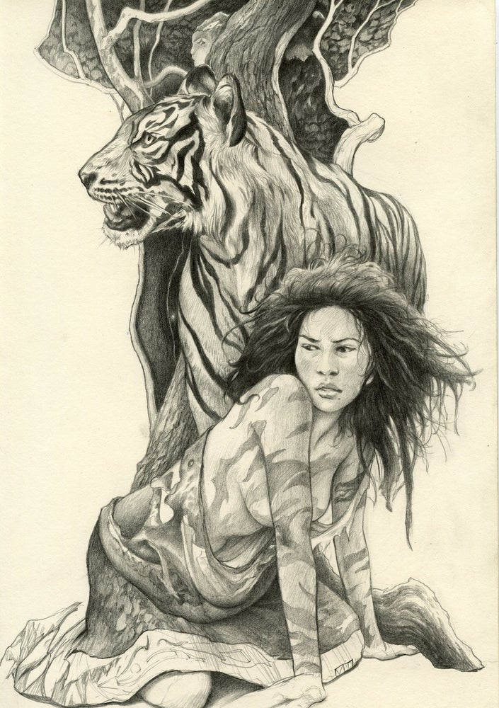 """Image of """" Wild Woman with Tiger """""""