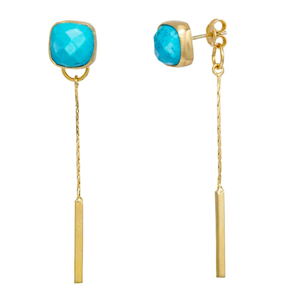 Image of TURQUOISE FRIENDSHIP FRONT-BACK EARRINGS
