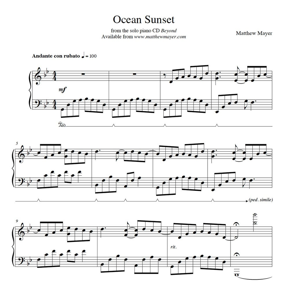 Image of NEW - Ocean Sunset Sheet Music