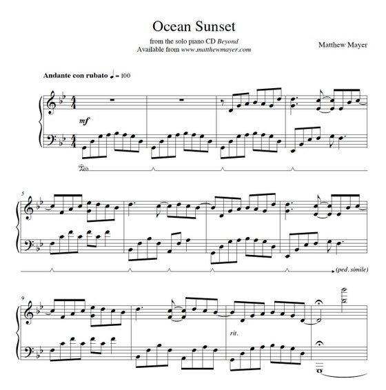 Image of NEW - Ocean Sunset Sheet Music