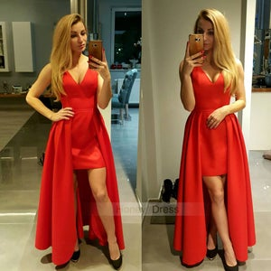 Image of New Arrival Red/Black Satin High Low V-Neck Prom Dress, Formal Gown With High Low Skirt