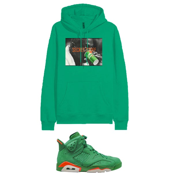 "Image of MJ SECRET STUFF RETRO 6 GATORADE GREEN "" LIKE MIKE "" HOODED SWEATSHIRT - GREEN"