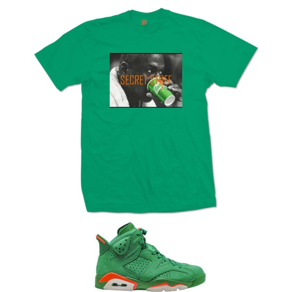 "Image of MJ SECRET STUFF RETRO 6 GATORADE GREEN "" LIKE MIKE "" T SHIRT - GREEN"