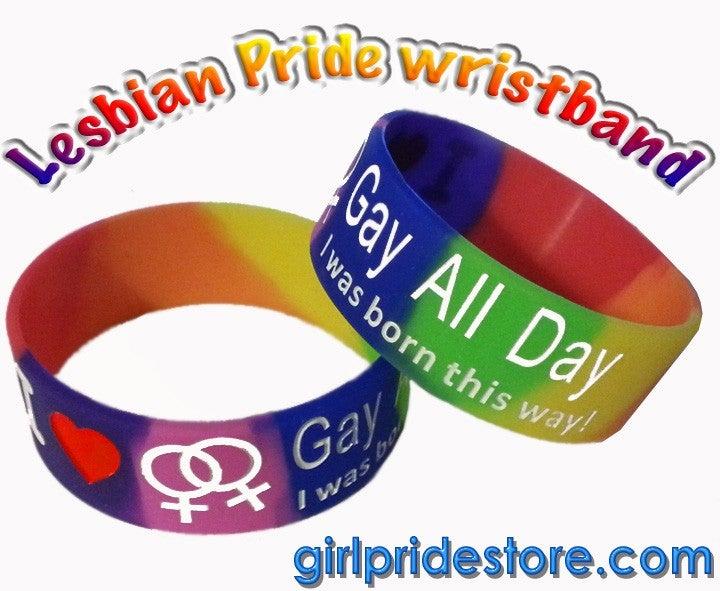 Image of Lesbian Pride Rainbow Wristband