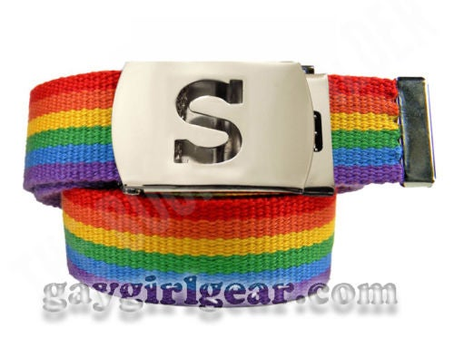 Image of Custom w/ your  Initial Gay Pride Rainbow Belt