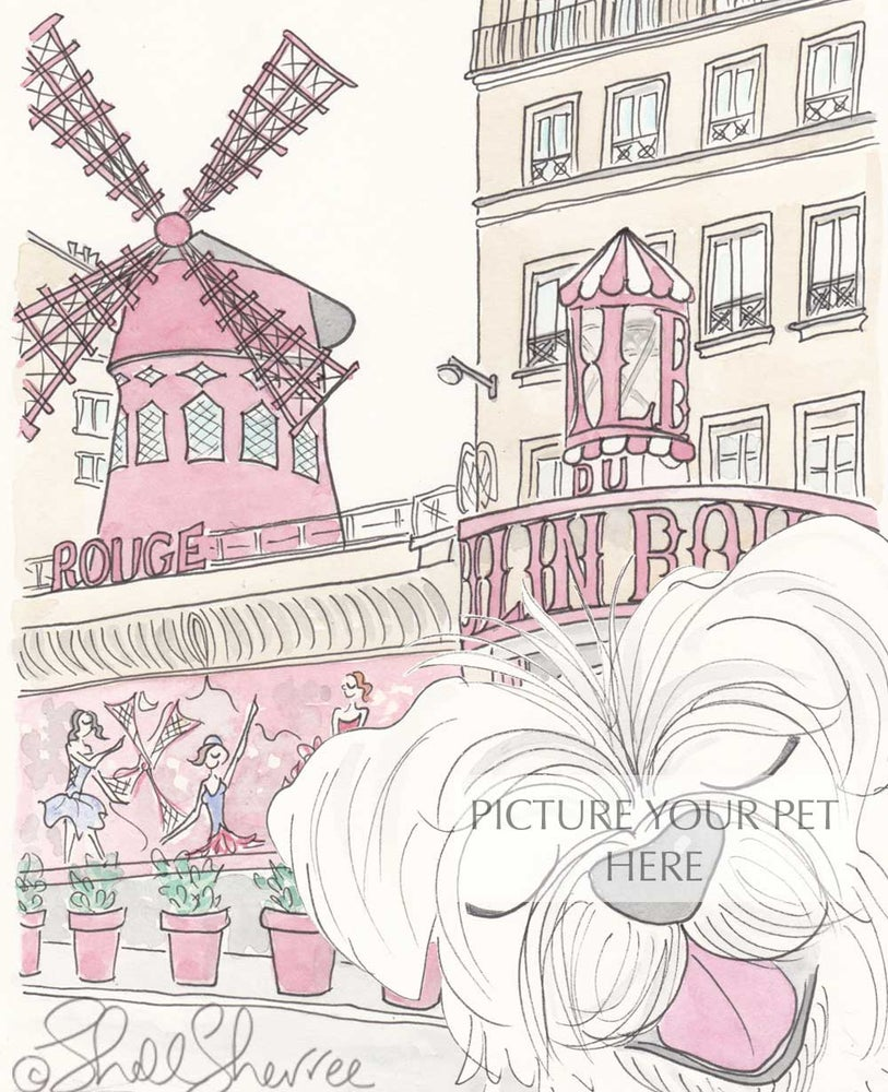 Image of Pet Portrait with Moulin Rouge Paris Setting