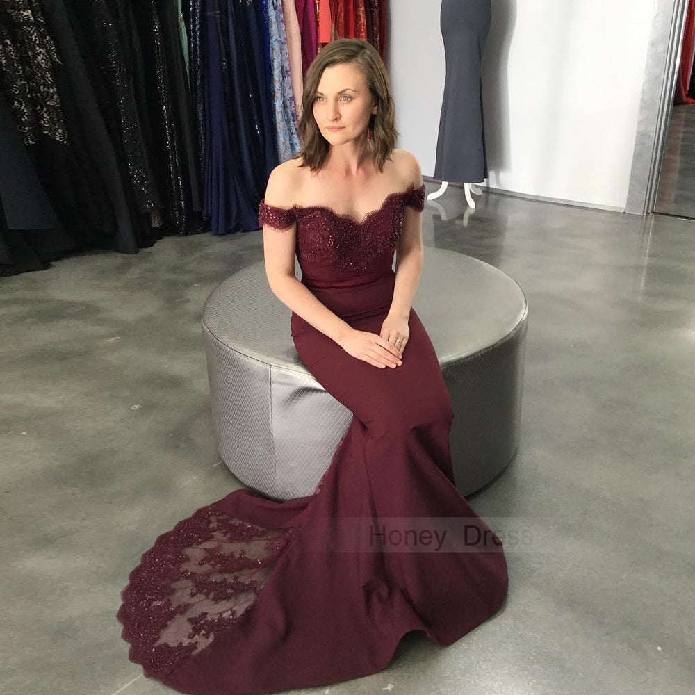 Image of Wine Red Off-the-shoulder Lace Appliques Bodice Mermaid Long Prom Dress With Sweep Train