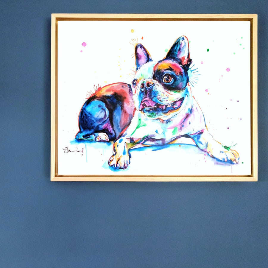 Image of PREMIUM Custom Watercolor Splash Pet Portrait on CLAYBOARD