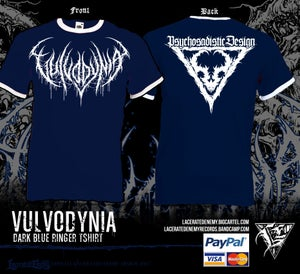 Image of VULVODYNIA - Navy Blue Ringer Tshirt