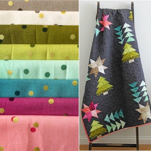 Image of PRE-ORDER Home for the Holidays confetti OMBRE FABRIC bundle with pdf pattern (SHIPPING FEB 2018)