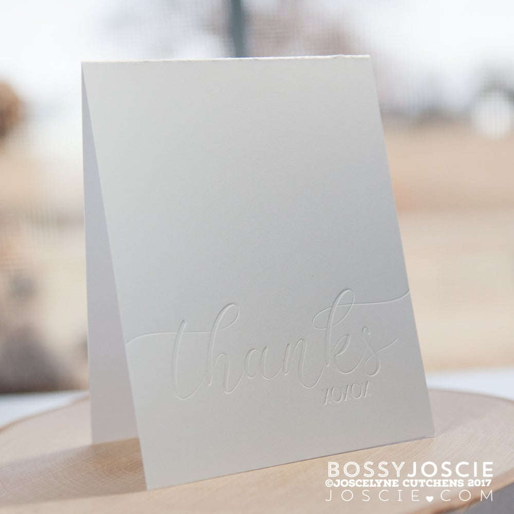 Image of Blind Letterpress thanks xoxox card
