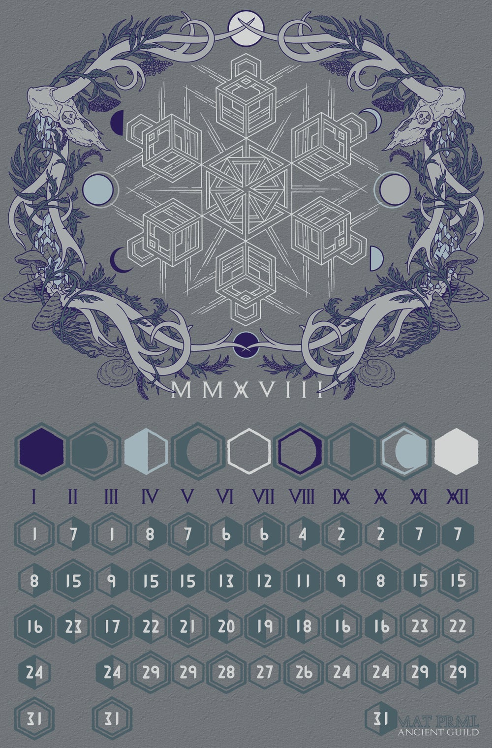Image of ANCIENT GVILD // MMXVIII LVNAR CALENDAR