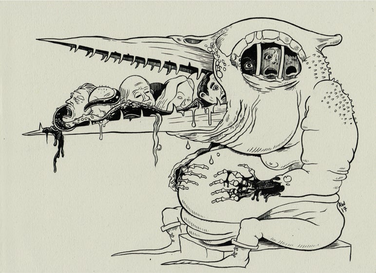 Image of Assorted Hellspawn:  Abysmal Beakfeast A4 print