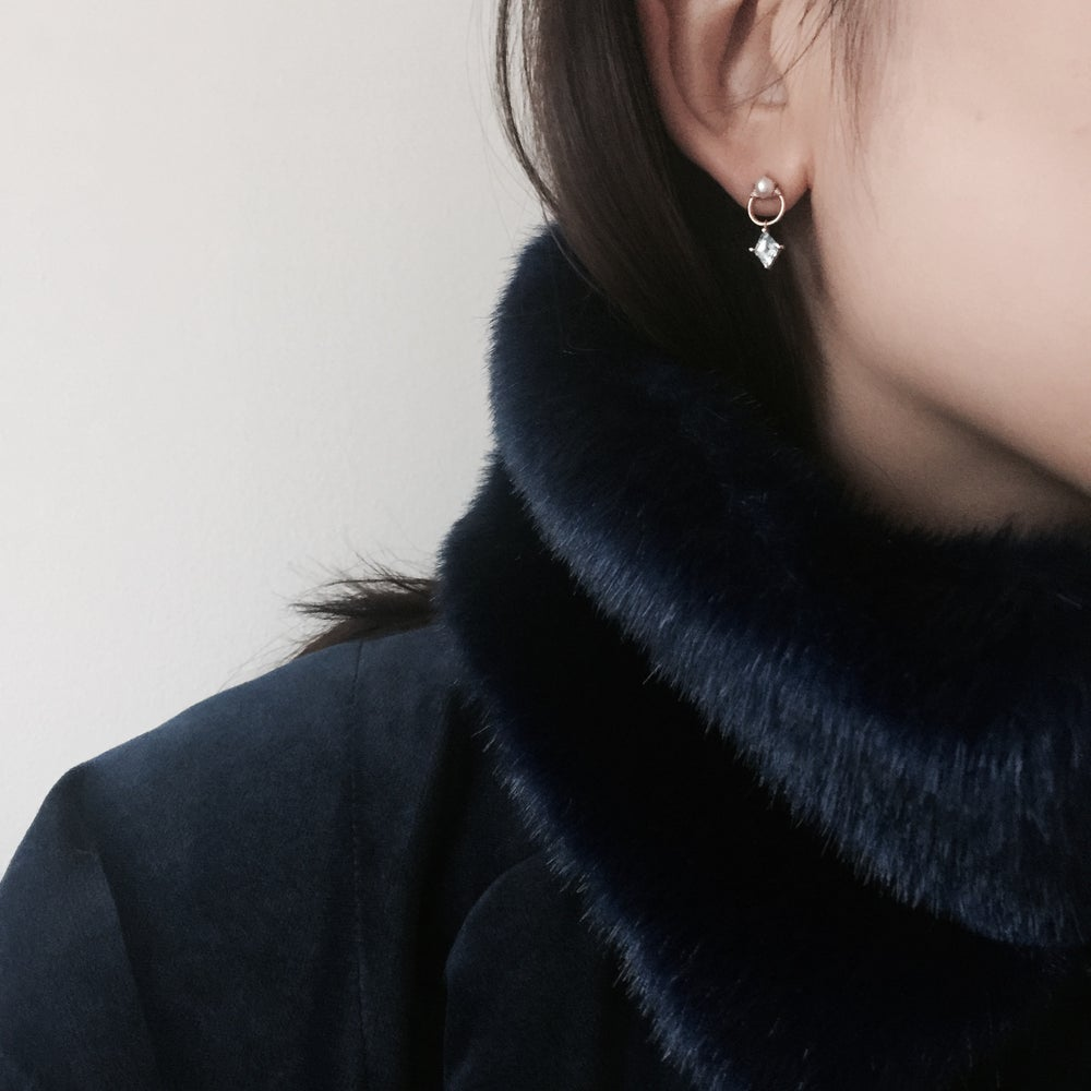 Image of Blue Topaz Door Knocker Earring