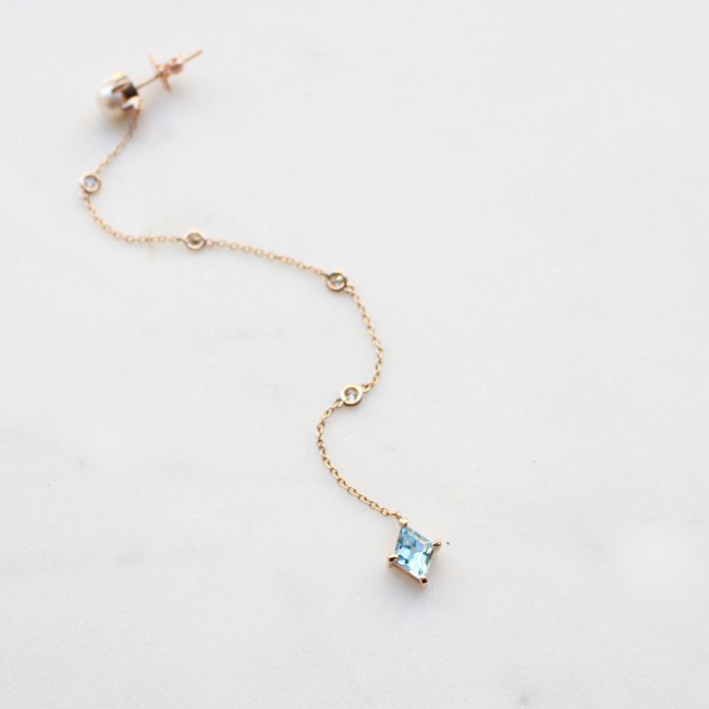 Image of Blue Topaz Long Drop Earring