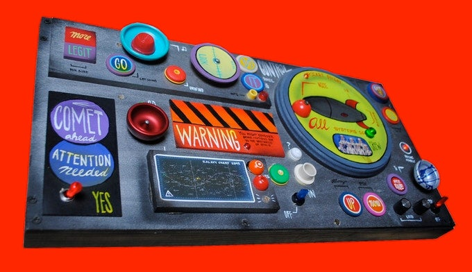 Image of Kids Outer Space CONTROL Panel L.E.D. Lights Spinning Knobs 14x26 Hand Made by John Higby