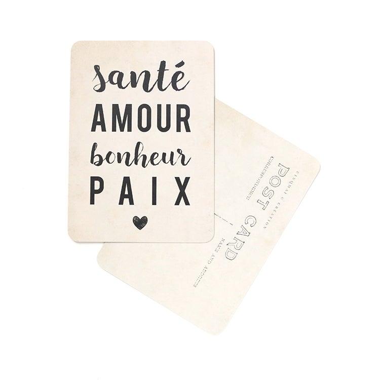 Image of Carte Postale SANTÉ AMOUR BONHEUR PAIX / VINTAGE PAPER