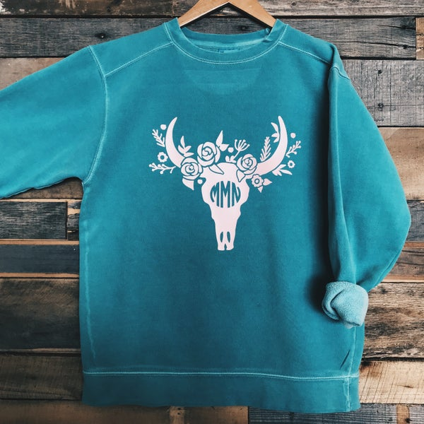 Image of Floral Bull Skull Monogram Sweatshirt (Comfort Colors)